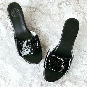 Tory Burch Black Patent Patti Wedge Sandals 8